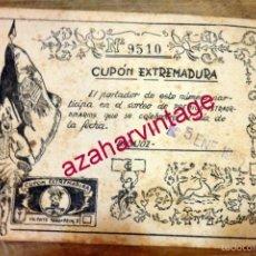 Cupones ONCE: BADAJOZ,1955, CUPON EXTREMADURA,RARISIMO,158X108MM. Lote 57234642