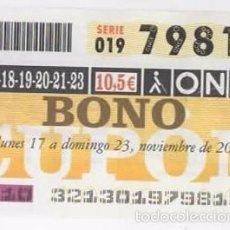 Cupones ONCE: BONO CUPÓN 2003 ( 17-23 NOVIEMBRE ). Lote 57515379