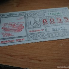 Cupones ONCE: ONCE 1985 AUTOMOVILISMO 1985. MORGAN SPORT. Lote 58126063