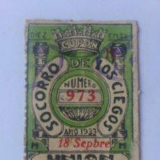 Cupones ONCE: CUPON UNION DE TRABAJADORES CIEGOS, 18 DE SEPTIEMBRE 1933, Nº 973. Lote 59928367