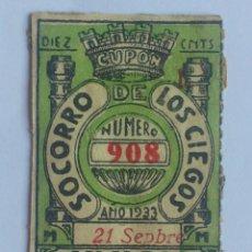 Cupones ONCE: CUPON UNION DE TRABAJADORES CIEGOS, 21 DE SEPTIEMBRE 1933, Nº 908. Lote 59928691