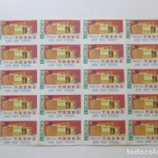 Cupones ONCE: EXPO 92, PLIEGO CON 20 CUPONES, ILUSTRACIÓN DEL PABELLÓN DE ITALIA. Lote 62250504