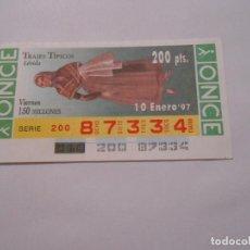 Cupones ONCE: CUPON DE LOTERIA LERIDA - TRAJES TIPICOS - 10 ENERO 1997 - ONCE - TDKP8. Lote 62677936