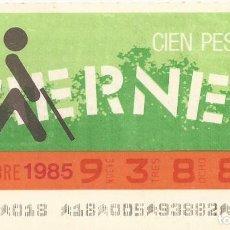 Cupones ONCE: CUPON ONCE - 93882 - SORTEO 08 NOVIEMBRE 1985 - SORTEO VIERNES. Lote 64406603