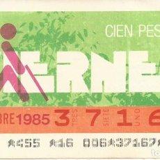 Cupones ONCE: CUPON ONCE - 37167 - SORTEO 15 NOVIEMBRE 1985 - SORTEO VIERNES. Lote 64407735