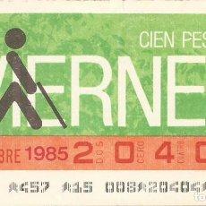 Cupones ONCE: CUPON ONCE - 20404 - SORTEO 29 NOVIEMBRE 1985 - SORTEO VIERNES. Lote 64409039