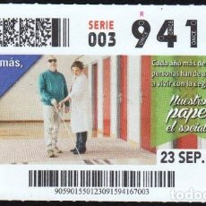 Cupones ONCE: Nº 94167 (23/SEPTIEMBRE/2015). Lote 64482411
