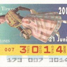 Cupones ONCE: CUPON ONCE - 30148 - SORTEO 21 JUNIO 1996 - TRAJES TIPICOS. Lote 64501923