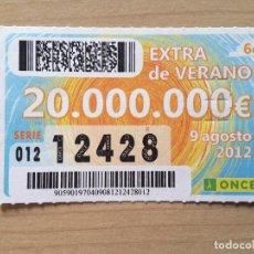 Cupones ONCE: ONCE EXTRA DE VERANO 9 AGOSTO 2012 (NÚMERO 12428). Lote 64874835