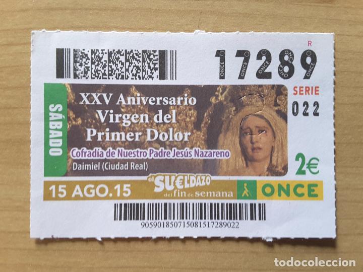 CUPÓN ONCE 15 AGOSTO 2015 (NÚMERO 17289) (Coleccionismo - Lotería - Cupones ONCE)