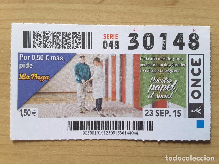 CUPÓN ONCE 23 SEPTIEMBRE 2015 (NÚMERO 30148) (Coleccionismo - Lotería - Cupones ONCE)
