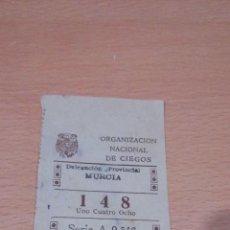 Cupones ONCE: CUPON MURCIA 6 OCTUBRE DE 1944 -ONCE. Lote 65454594