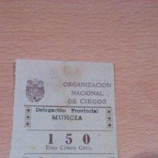 Cupones ONCE: CUPON MURCIA 7 OCTUBRE DE 1944 -ONCE. Lote 65454938