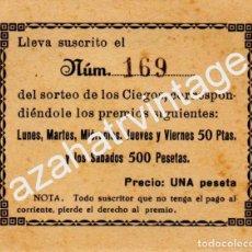 Cupones ONCE: TARJETA SUSCRIPCION CUPON SORTEO CIEGOS, AÑOS 30-40. Lote 69620789