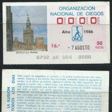 Cupones ONCE: FRACCIÓN DE SORTEO DE LA ONCE DE 1986. NÚMERO 0000. Lote 70350398