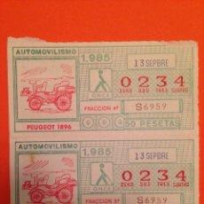Cupones ONCE: CUPONES DE LA ONCE 13/SEPTIEMBRE/1985. SERIE-AUTOMOVILISMO. Lote 71075866