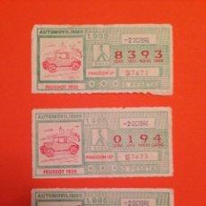 Cupones ONCE: CUPONES DE LA ONCE, 2/OCTUBRE/1985. SERIE-AUTOMOVILISMO,-. Lote 71076257
