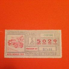 Cupones ONCE: CUPONES DE LA ONCE, 3/OCTUBRE/1985 SERIE/AUTOMOVILISMO
