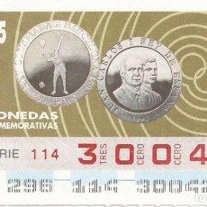 Cupones ONCE: CUPON ONCE - 30042 - SORTEO 23 OCTUBRE 1995 - MONEDAS CONMEMORATIVAS. Lote 75779011
