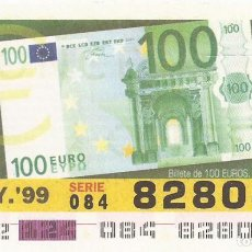 Cupones ONCE: CUPON ONCE - 82804 - SORTEO 04 MAYO 1999 - BILLETE 100 EUROS, ANVERSO. Lote 137171828
