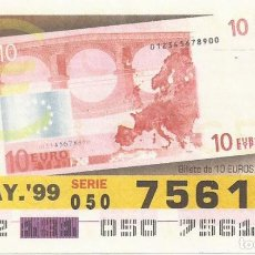 Cupones ONCE: CUPON ONCE - 75612 - SORTEO 11 MAYO 1999 - BILLETE 10 EUROS, REVERSO. Lote 137171841