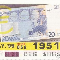 Cupones ONCE: CUPON ONCE - 19512 - SORTEO 12 MAYO 1999 - BILLETE 20 EUROS, REVERSO. Lote 137171845