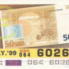 Cupones ONCE: CUPON ONCE - 60260 - SORTEO 13 MAYO 1999 - BILLETE 50 EUROS, REVERSO. Lote 137171848