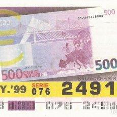 Cupones ONCE: CUPON ONCE - 24919 - SORTEO 19 MAYO 1999 - BILLETE DE 500 EUROS, REVERSO. Lote 137171861