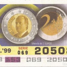 Cupones ONCE: CUPON ONCE - 20508 - SORTEO 02 JUNIO 1999 - MONEDA DE 2 EURO. Lote 137171897