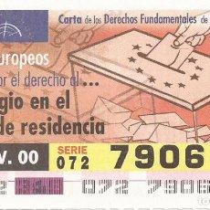 Cupones ONCE: CUPON ONCE - 79067 - SORTEO 14 NOVIEMBRE 2000 - SERIE 072 - CARTA DE LOS DERECHOS FUNDAMENTALES. Lote 77048901