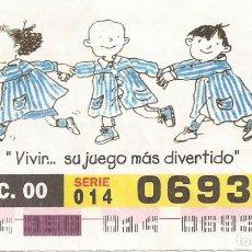 Cupones ONCE: CUPON ONCE - 06938 - SORTEO 21 DICIEMBRE 2000 - SERIE 014 - DIA DEL NIÑO CON CANCER. Lote 77093105