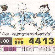 Cupones ONCE: CUPON ONCE - 44138 - SORTEO 21 DICIEMBRE 2000 - SERIE 089 - DIA DEL NIÑO CON CANCER. Lote 77093321