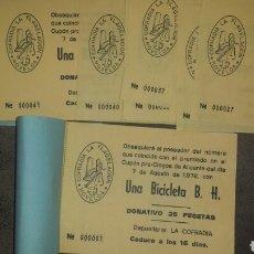 ONCE Coupons - Talonario de 25 participaciones sorteo Bicicleta. Cofradia Flagelacion Novelda 1978- 42 papeletas - 79129153