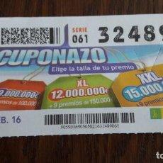 Cupones ONCE - cupón once 05-02-16 cuponazo. - 80162081
