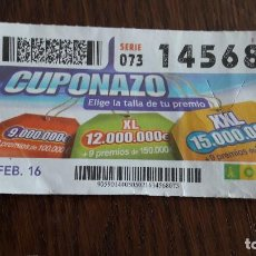 Cupones ONCE - cupón once 05-02-16 cuponazo. - 80778118