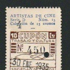 Cupones ONCE: CUPÓN DE CIEGOS LA HISPALENSE.AÑO 1934.REVERSO: ARTISTAS DE CINE.CARL BRISSON.. Lote 81015380