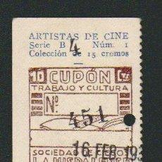 Cupones ONCE: CUPÓN DE CIEGOS LA HISPALENSE.AÑO 1934.REVERSO: ARTISTAS DE CINE.KENT TAYLOR.. Lote 81015452