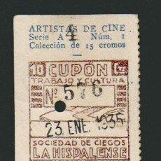 Cupones ONCE: CUPÓN DE CIEGOS LA HISPALENSE.AÑO 1934.REVERSO: ARTISTAS DE CINE.BABY LE ROY.. Lote 81060192