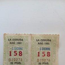 Cupones ONCE: 2 CUPONES DE LA ONCE ANTIGUOS.. Lote 81627232