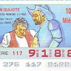 Bilhetes ONCE: ESPAÑA. ONCE. 1990. QUIJOTE: CON ESTAS PROMESAS … FECHA: 3 OCT. EL NÚMERO PUEDE VARIAR. Lote 81635476