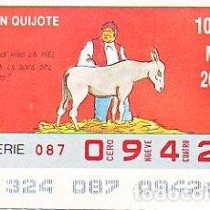 Bilhetes ONCE: ESPAÑA. ONCE. 1990. QUIJOTE: NO SE HIZO LA MIEL ... FECHA: 20 NOV. EL NÚMERO PUEDE VARIAR. Lote 81637832