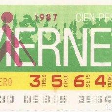 Cupones ONCE: CUPON ONCE - 35649 - SORTEO 30 ENERO 1987 - SORTEO VIERNES. Lote 81847212