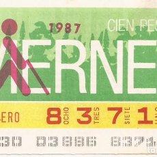 Cupones ONCE: CUPON ONCE - 83714 - SORTEO 30 ENERO 1987 - SORTEO VIERNES. Lote 81847528