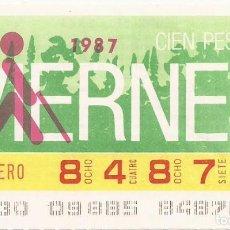 Cupones ONCE: CUPON ONCE - 84870 - SORTEO 30 ENERO 1987 - SORTEO VIERNES. Lote 81847596