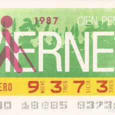 Cupones ONCE: CUPON ONCE - 93731 - SORTEO 30 ENERO 1987 - SORTEO VIERNES. Lote 81847780