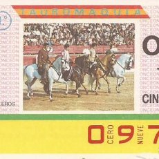Cupones ONCE: CUPON ONCE - 0970 - SORTEO 31 MARZO 1987 - TAUROMAQUIA. Lote 82199380