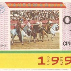 Cupones ONCE: CUPON ONCE - 1995 - SORTEO 31 MARZO 1987 - TAUROMAQUIA. Lote 82199468