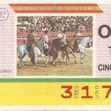 Cupones ONCE: CUPON ONCE - 3179 - SORTEO 31 MARZO 1987 - TAUROMAQUIA. Lote 82199688