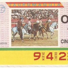 Cupones ONCE: CUPON ONCE - 9420 - SORTEO 31 MARZO 1987 - TAUROMAQUIA. Lote 82199976