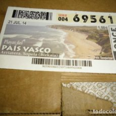 Cupones ONCE: CUPON ONCE SERIE 004 21 JUL 14 PLAYAS DEL PAIS VASCO . Lote 143587174